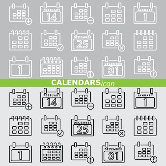 Calendars icons. Linear set.