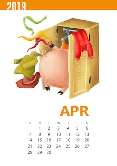 Calendars illustration of funny pig for april 2019