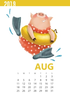 Calendars illustration of funny pig for august 2019