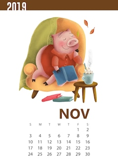 Calendars illustration of funny pig for november 2019