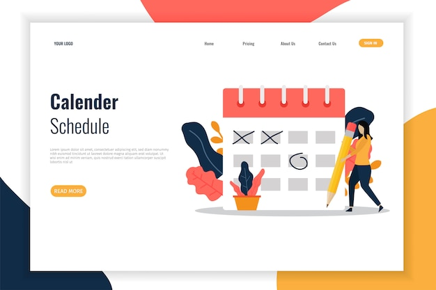 Calender schedule  for landing page.