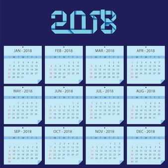Calender template for 2018