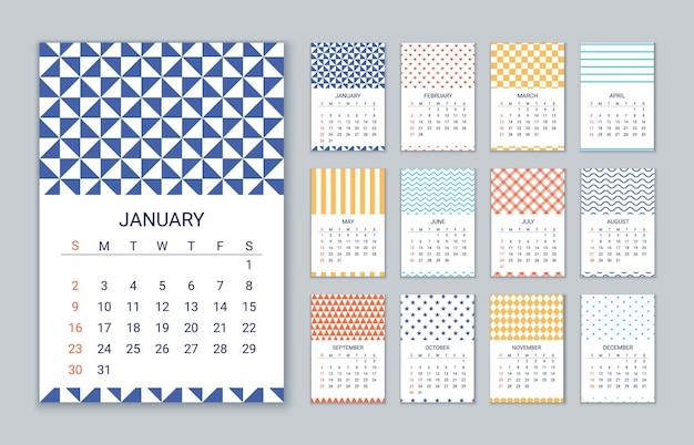 Шаблон календаря. ежегодный органайзер с планировкой стен на 12 месяцев