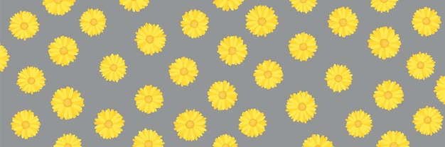 Calendula or marigold flower pattern in illuminating yellow pantone color of the year on ultimate gray background