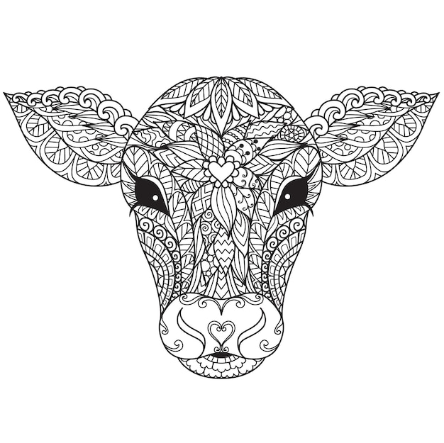 Calf or cow head mandala for adult coloring book,coloring page,print on product, laser cut, paper cut and so on. vector illustration.