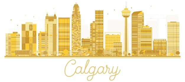 Золотой силуэт горизонта города калгари. векторная иллюстрация. концепция деловых поездок. городской пейзаж калгари с известными достопримечательностями.