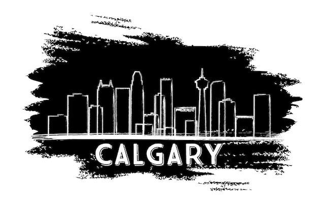 Calgary skyline silhouette. hand drawn sketch. vector illustration. business travel and tourism concept with modern buildings. image for presentation banner placard and web site.