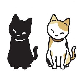 猫ベクトル子猫calico漫画