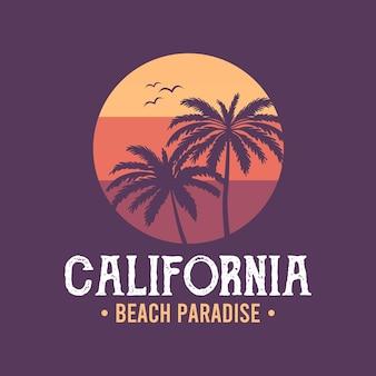手のひらとカリフォルニアの背景ベクトル背景ビーチ夏の熱帯のバナーデザイン