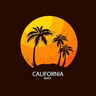 California beach illustration with palm tree