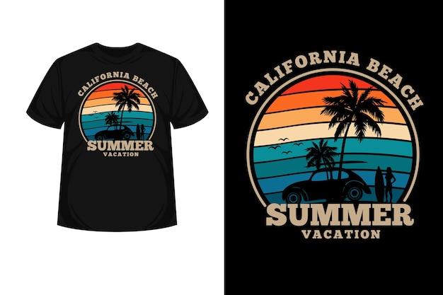 California beach summer vacation merchandise silhouette t shirt design