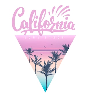 California beach t-shirt print with palms,  illustration.