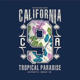 カリフォルニアのビーチのテーマのタイポグラフィ