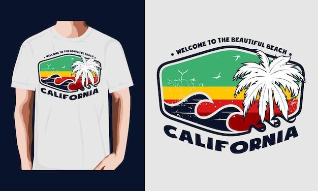 Калифорния пляж типография вектор футболка дизайн иллюстрация premium векторы