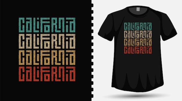 California colorful typography lettering design template for t shirt fashion clothing and poster