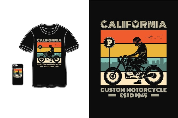 Калифорнийский кастомный мотоцикл, дизайн футболки, силуэт в стиле ретро
