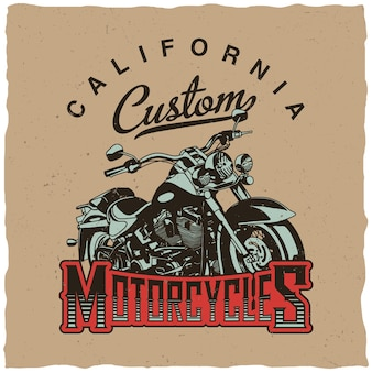 California custom motorcycles poster with bike for t-shirts and greeting cards