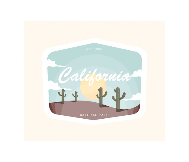 California desert vintage illustration design.