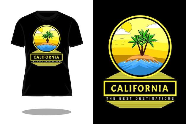 カリフォルニアの目的地のレトロなtシャツのデザイン