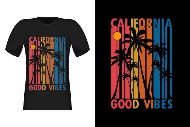 California good vibes 실루엣 빈티지 레트로 티셔츠 디자인