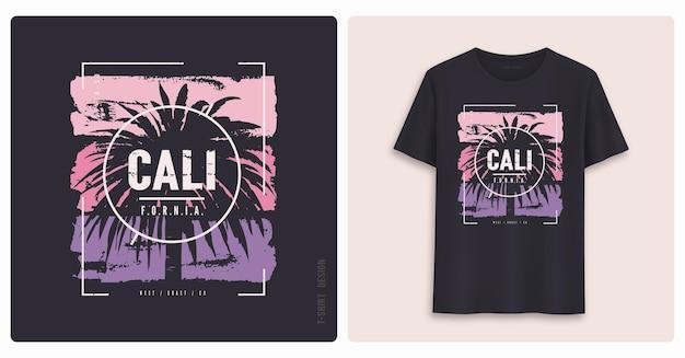 캘리포니아. 그래픽 티셔츠 디자인, 그런지 스타일의 프린트.