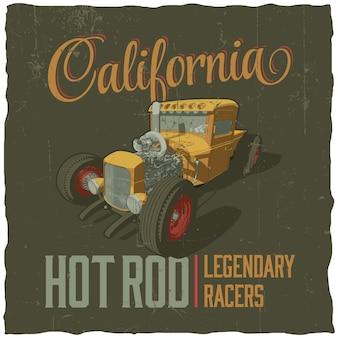 Tシャツのデザインとカリフォルニア伝説のレーサーのポスター