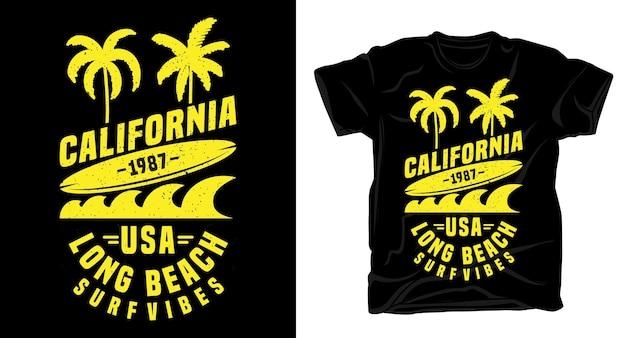 캘리포니아 롱 비치 서핑 바이브 티셔츠 용 타이포그래피 디자인