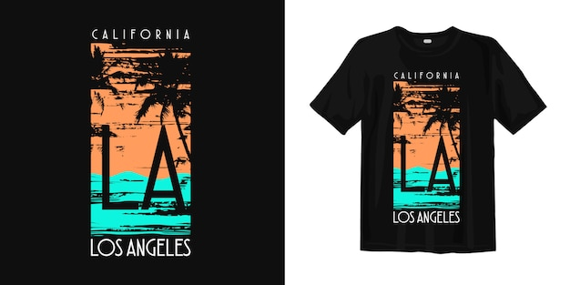 California los angeles with palm silhouette