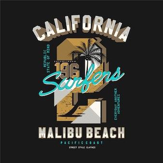 Калифорния, пляж малибу, векторный дизайн футболки типографии для готовой печати