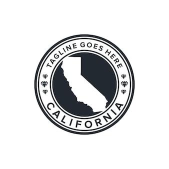 Карта калифорнии эмблема круг простой гладкий креативный геометрический современный дизайн логотипа