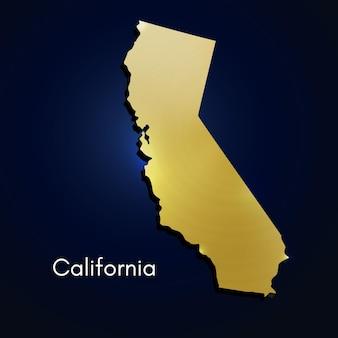 Калифорния карта золотой текстурированной векторные иллюстрации