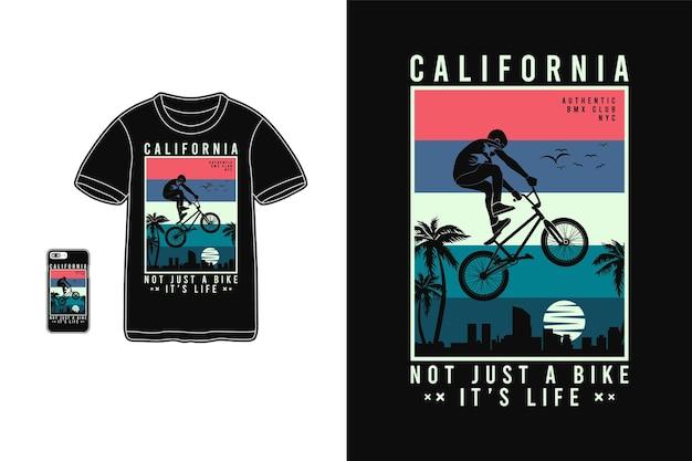 Калифорния не только велосипед для дизайна футболки силуэт