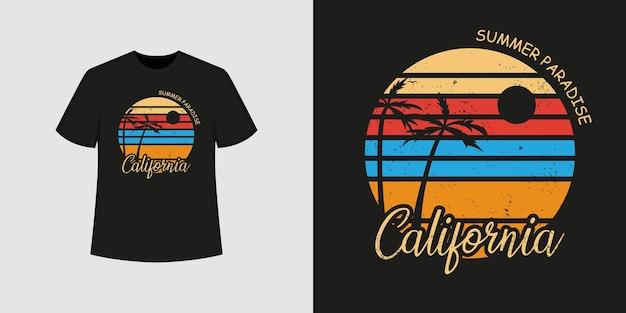 Стиль футболки california ocean beach и модный дизайн одежды с силуэтами деревьев, типографикой, принтом, векторной иллюстрацией.