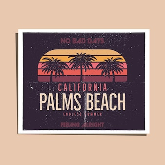 California palms beach graphic for t-shirt, prints. vintage hand drawn 90s style poster, flyer. retro summer travel scene, unusual badge. surfing adventure label. stock vector illustration