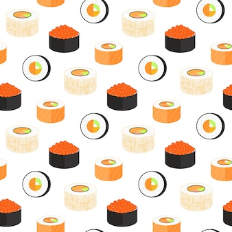 노리로 싸인 캘리포니아 롤. 날치 캐비어와 필라델피아. 일본 전통 요리 원활한 패턴