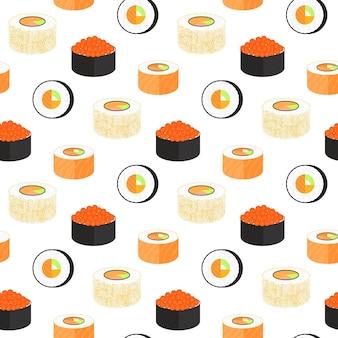Роллы калифорния, завернутые в нори. филадельфия с икрой летучей рыбы. бесшовный узор из традиционной японской кухни.