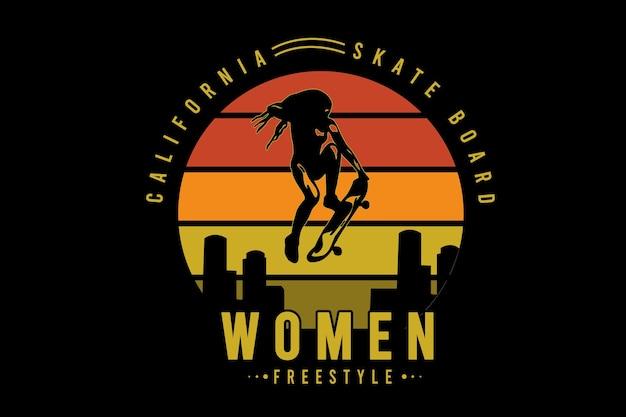 California skate board women freestyle color orange and yellow