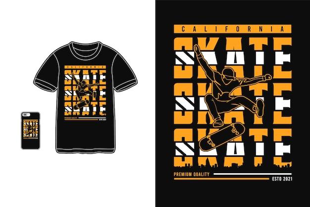 Калифорния скейт, дизайн футболки силуэт городской стиль