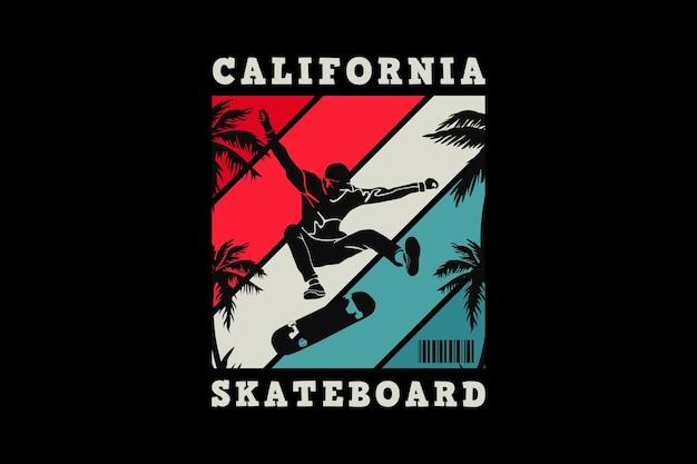.california 스케이트보드, 복고풍 디자인.
