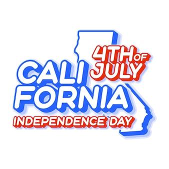 День независимости штата калифорния 4 июля с картой и национальным цветом сша в 3d-форме