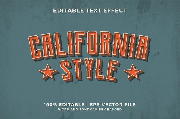 California style text effect premium vector