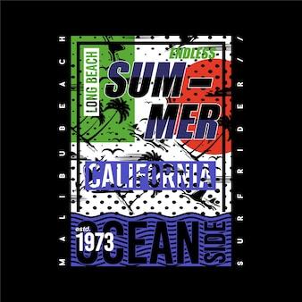캘리포니아 여름 바다 쪽 서핑 타이포그래피 티셔츠 그래픽 벡터