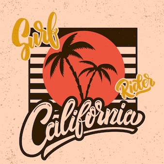 カリフォルニアのサーフライダー。レタリングと手のひらでポスターテンプレート。画像
