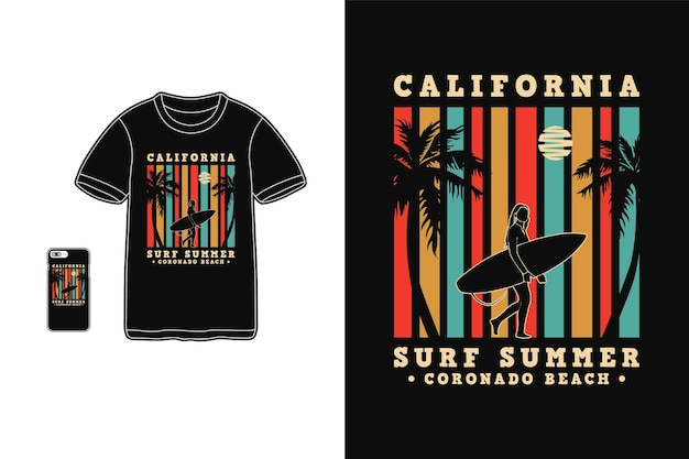Калифорния серфинг лето, дизайн футболки силуэт в стиле ретро