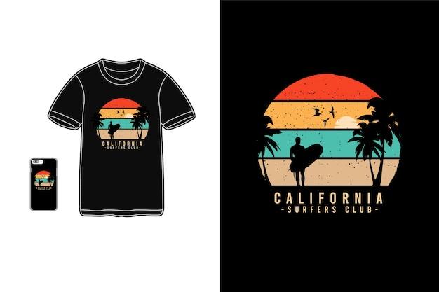 シャツのカリフォルニアサーファーズクラブレタリング
