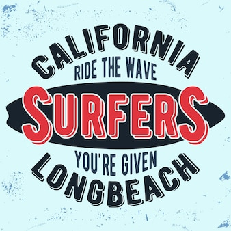 California surfers vintage stamp