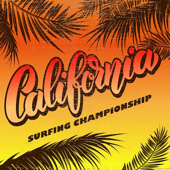 California. surfing championship. poster template with lettering and palms.  illustration