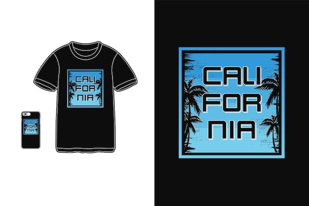 Калифорния, футболки, товары, силуэт, макет, типография