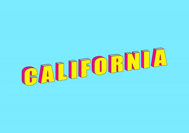 California text with 3d isometric effect