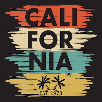 California typography for design clothes, t-shirts. palm, sun. graphics for print product. vector illustration.